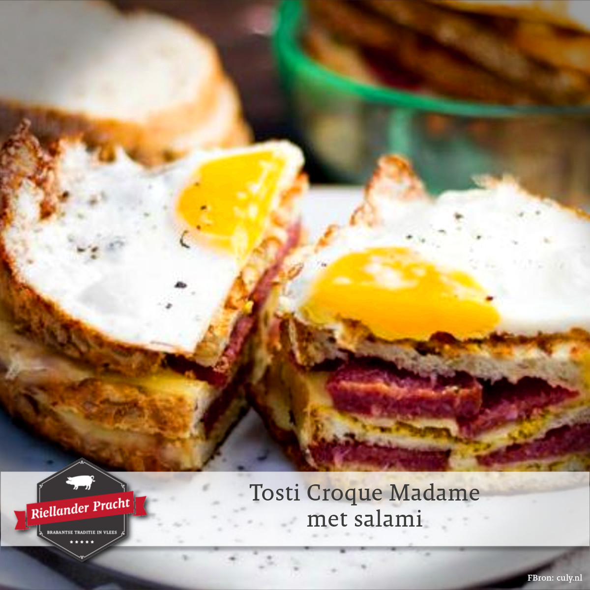 Lunch recept: tosti croque madame met salami